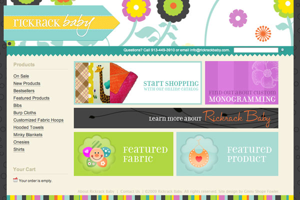 rickrack baby web design by ginny shope fowler