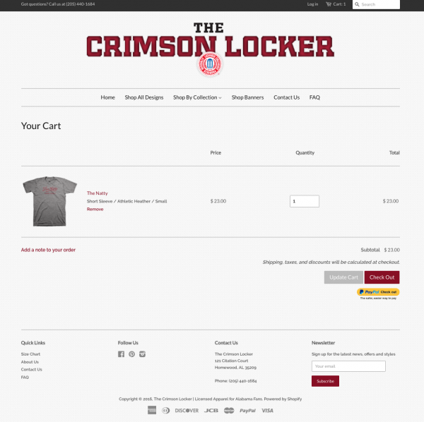 Crimson Locker Website Checkout