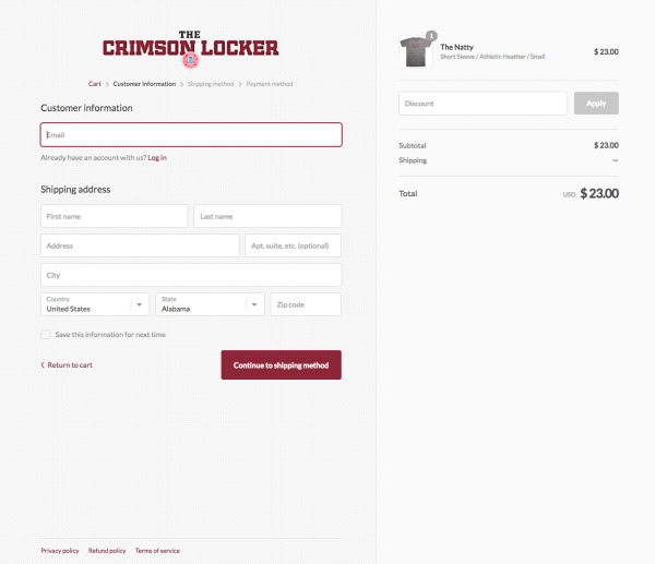 Crimson Locker Website